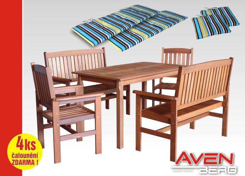 Set zahradního nábytku 9-dílný AVENBERG Adler + čalounění modrá-bílá-žlutá