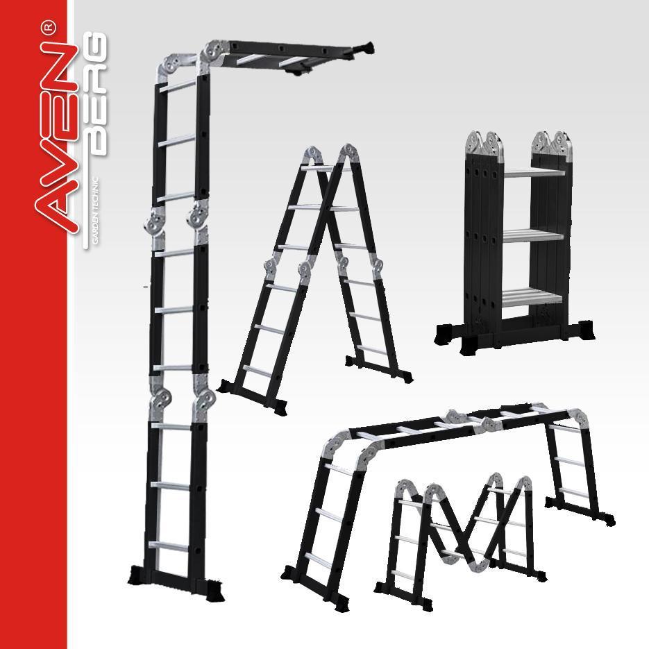 Multifunkční pracovní kloubový žebřík + štafle AVENBERG 4,4 m